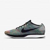 Chaussures de sport Nike Flyknit Racer homme Vert impact/Bleu lagon/Rose framboise/Noir