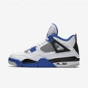 Chaussures de sport Nike Air Jordan 4 Retro homme Blanc/Noir/Bleu électrique
