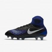 Chaussures de sport Nike Magista Obra II FG homme Noir/Bleu souverain/Aluminium/Blanc