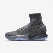 Chaussures de sport Nike Hyperdunk 2016 Flyknit homme Gris foncé/Gris froid/Platine métallisé