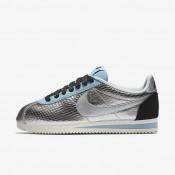 Chaussures de sport Nike Classic Cortez Leather Premium femme Argent métallique/Noir/Bleu Mica/Argent métallique