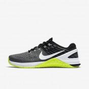 Chaussures de sport Nike Metcon DSX Flyknit femme Gris foncé/Volt/Noir/Blanc