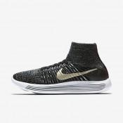 Chaussures de sport Nike LunarEpic Flyknit BHM femme Noir/Blanc/Étoile d'or métallique
