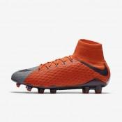 Chaussures de sport Nike Hypervenom Phatal 3 DF FG femme Gris froid/Orange max/Violet dynastie