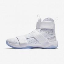 Chaussures de sport Nike LeBron Soldier 10 FlyEase homme Blanc/Argent métallique/Bleu glacé/Blanc