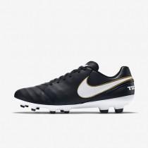 Chaussures de sport Nike Tiempo Genio II Leather FG homme Noir/Blanc