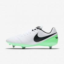Chaussures de sport Nike Tiempo Genio II Leather SG homme Blanc/Vert Electro/Noir