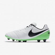 Chaussures de sport Nike Tiempo Genio II Leather AG-PRO homme Blanc/Vert Electro/Noir