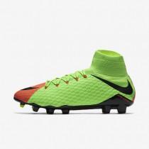 Chaussures de sport Nike Hypervenom Phatal 3 DF FG homme Vert électrique/Hyper orange/Volt/Noir
