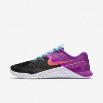 Chaussures de sport Nike Metcon 3 femme Noir/Hyper violet/Bleu chlorine/Rose coureur