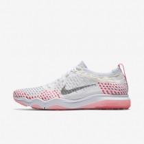 Chaussures de sport Nike Zoom Fearless Flyknit femme Blanc/Rose coureur/Melon pâle/Gris loup