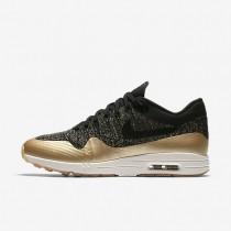 Chaussures de sport Nike Air Max 1 Ultra 2.0 Flyknit Metallic femme Noir/Étoile d'or métallique/Opale mat/Noir