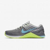 Chaussures de sport Nike Metcon DSX Flyknit femme Gris foncé/Vert ombre/Gris loup/Bleu polarisé
