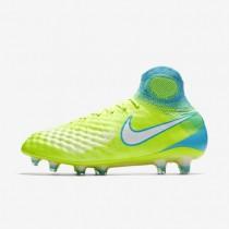 Chaussures de sport Nike Magista Obra II FG femme Volt/Jaune pâle électrique/Bleu chlorine/Blanc
