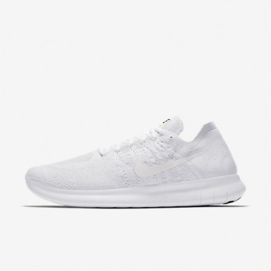 Chaussures de sport Nike Free RN Flyknit 2017 homme Blanc/Platine pur/Noir/Blanc