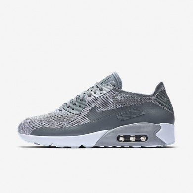 Chaussures de sport Nike Air Max 90 Ultra 2.0 Flyknit homme Platine pur/Blanc/Gris loup/Gris froid