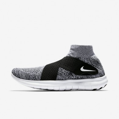Chaussures de sport Nike Free RN Motion Flyknit 2017 homme Noir/Platine pur/Gris loup/Blanc