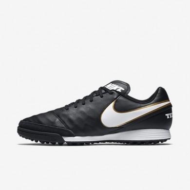 Chaussures de sport Nike TiempoX Genio II Leather TF homme Noir/Blanc