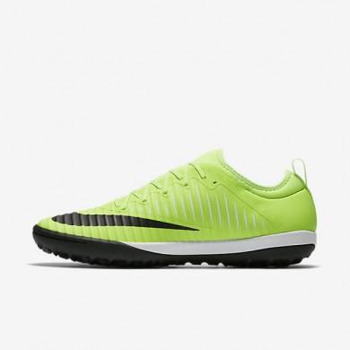 Chaussures de sport Nike MercurialX Finale II TF homme Citron flash/Blanc/Gomme marron clair/Noir