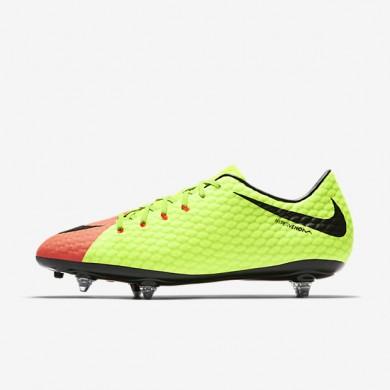 Chaussures de sport Nike HYPERVENOM PHELON III SG homme Vert électrique/Hyper orange/Volt/Noir