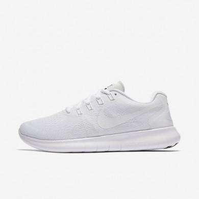 Chaussures de sport Nike Free RN 2017 femme Blanc/Noir/Platine pur/Blanc