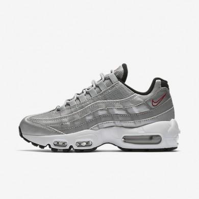 Chaussures de sport Nike Air Max 95 QS femme Argent métallique/Noir/Blanc/Rouge intense