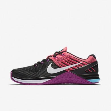 Chaussures de sport Nike Metcon DSX Flyknit femme Noir/Rose coureur/Hyper violet/Blanc