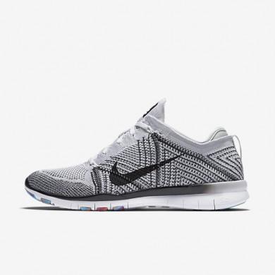 Chaussures de sport Nike Free TR 5 Flyknit femme Blanc/Platine pur/Hyper violet/Noir