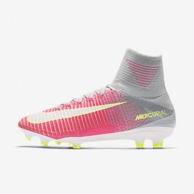 Chaussures de sport Nike Mercurial Superfly V FG femme Hyper rose/Gris loup/Aigre/Blanc