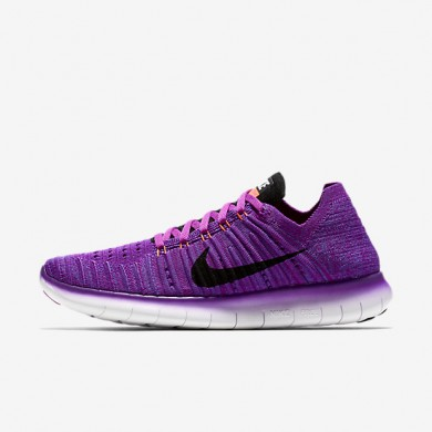 Chaussures de sport Nike Free RN Flyknit femme Hyper violet/Cramoisi total/Orange laser/Noir