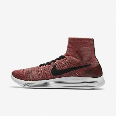 Chaussures de sport Nike LunarEpic Flyknit femme Champignon foncé/Rouge cocktail/Rouge lave brillant/Noir
